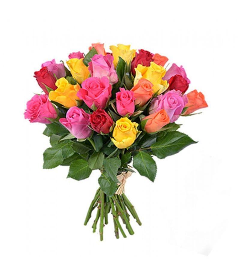 Букет из 25 кенийских роз (37см)