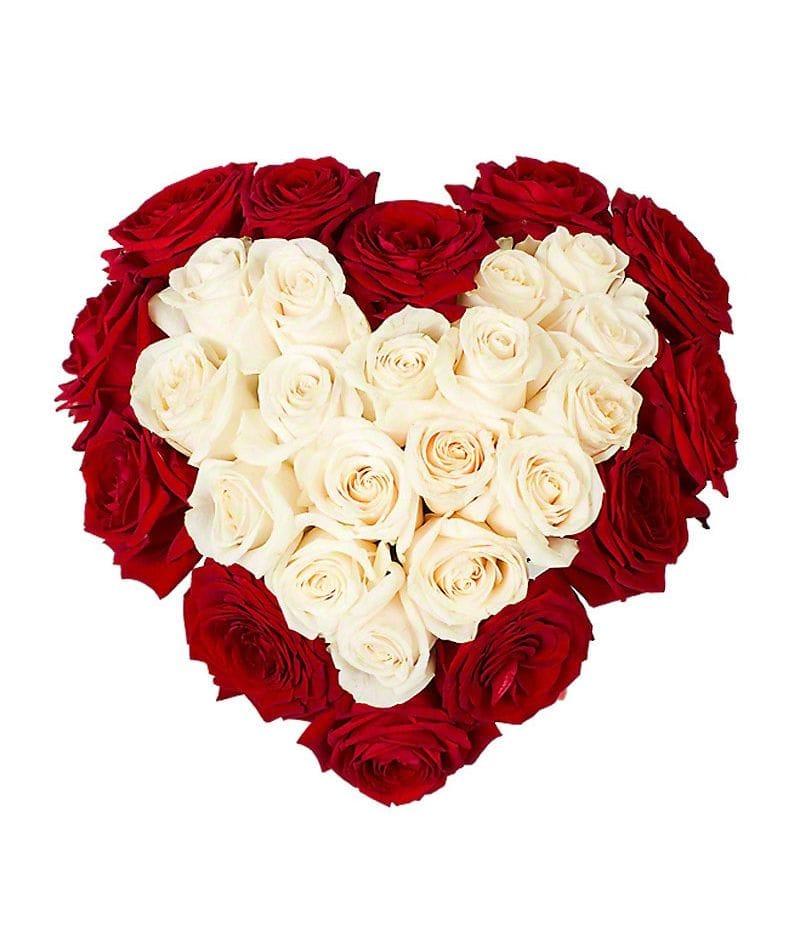 Сердце из 29 роз