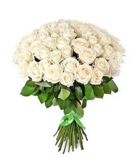 Букет 51 белая роза Эквадор (60см)