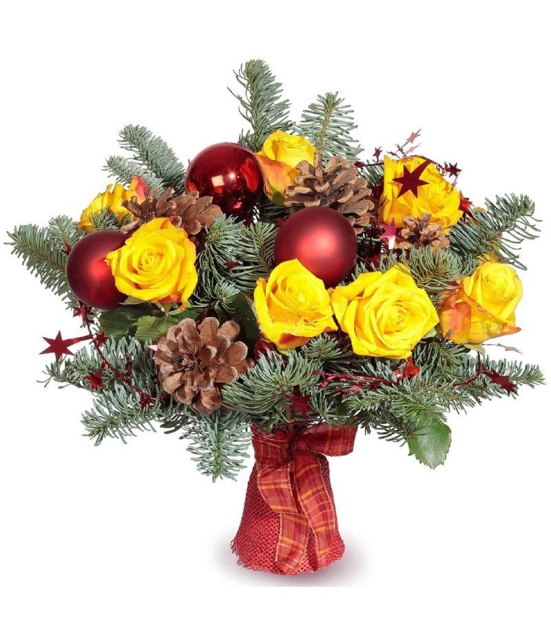 Букет Новогодний с желтыми розами