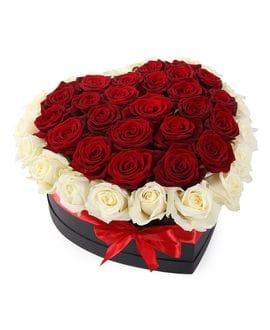 Сердце из 45 роз