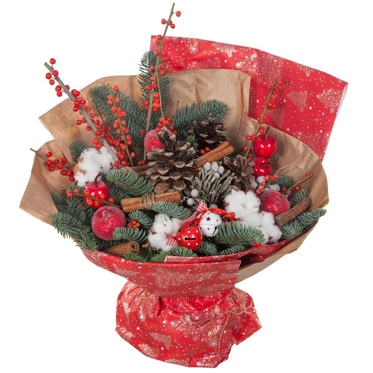 Новогодние букетов в москве дешево, розы